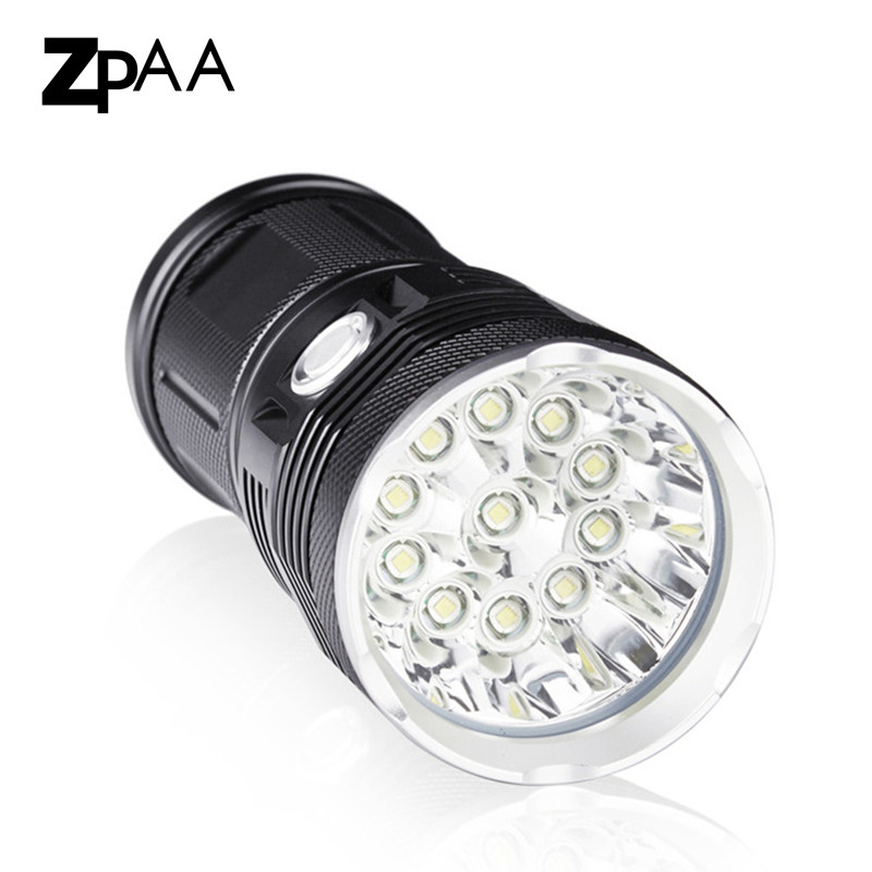 ZPAA Powerful LED Flashlight XML T6 25000 Lumen High Power Flashlight 18650 Searchlight torch light lanterna hunt camping zpaa mini penlight lanterna xml t6 xml l2 led flashlight torch 3800lm 5000lumens powerful zoom waterproof gladiator flash light