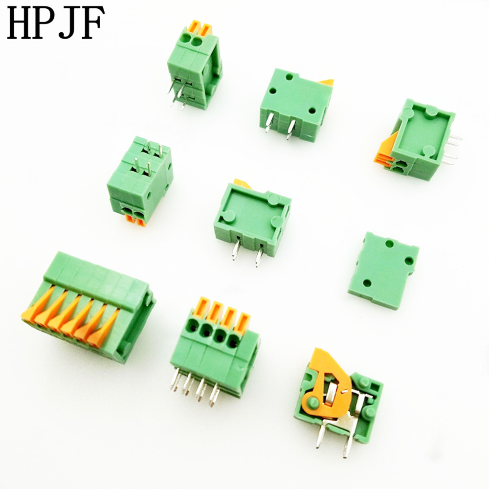 KF141R 2/3/4/5/6/7/8/9/10/12 Pin 2.54mm Pitch 150V 1A Pcb Connector Spring Screless Terminal Block Right Angle Green PCB Mounted 5 pcs 400v 20a 7 position screw barrier terminal block bar connector replacement