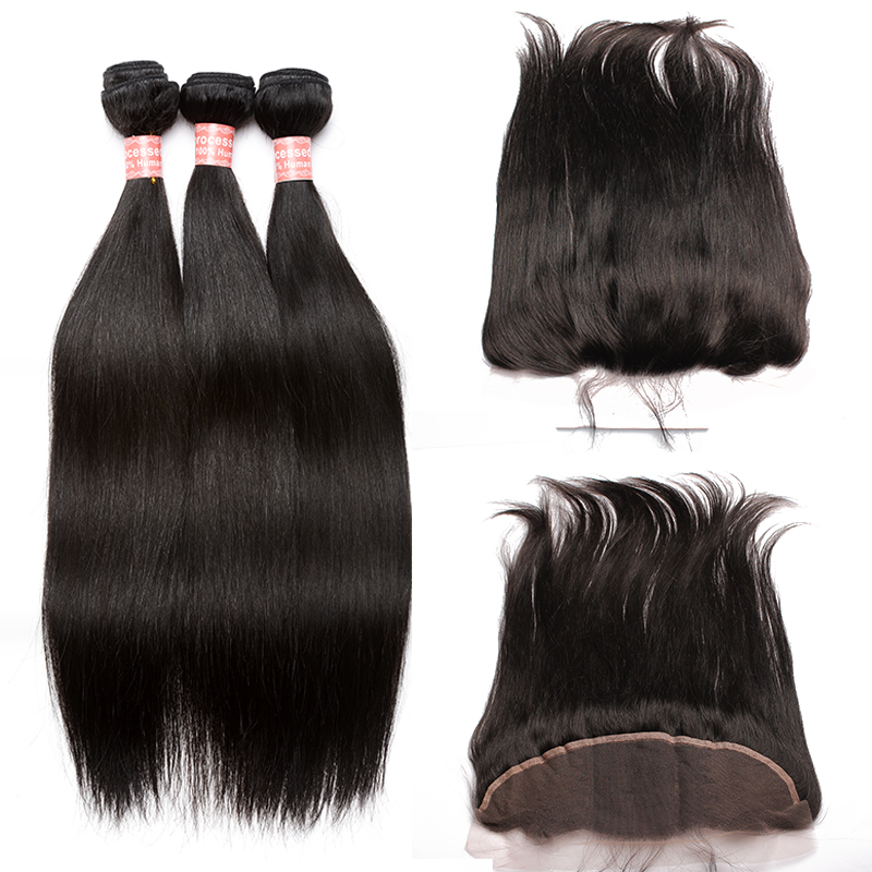 Straight Wave Lace Frontal Closure With Bundles Brazilian Virgin Hair Weaving 4 Pcs Human Hair Extensions Honey Queen Products
