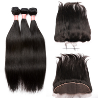 Straight Wave Lace Frontal Closure With Bundles Brazilian Virgin Hair Weaving 4 Pcs Human Hair Extensions Prosa Products
