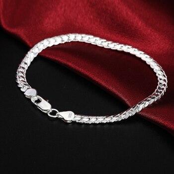 Beautiful Elegant wedding women men silver color 5MM Snake Bracelet high quality fashion classic jewelry H199 gift wholesale 2