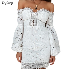2019 Sexy Off Shoulder White Dress Women Elegant Summer Lace Embroidery Bandage Party Dresses Ladies Short Wrap Bodycon Dress 2019 sexy off shoulder white dress women elegant summer lace embroidery bandage party dresses ladies short wrap bodycon dress