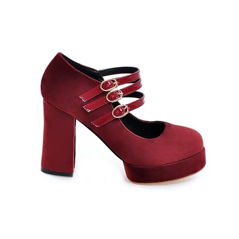 Pour Rond Bout Talons Délicat Chaussures Solide Rouge Plate army Élégant forme vin Green Smeeroon Moderne Pompes Femme Boucles Femmes Simples Bureau De Haute Noir Dame wqUvz8