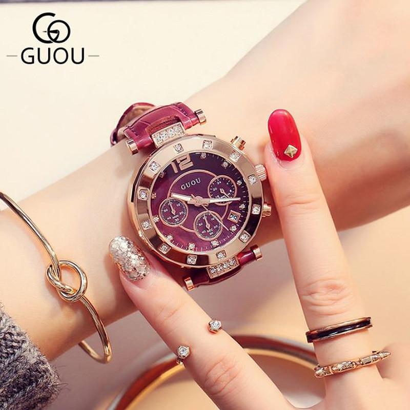 Ženski sat GUOU tri čaše s kalendarom svjetlećim velikim satom za - Ženske satove - Foto 4