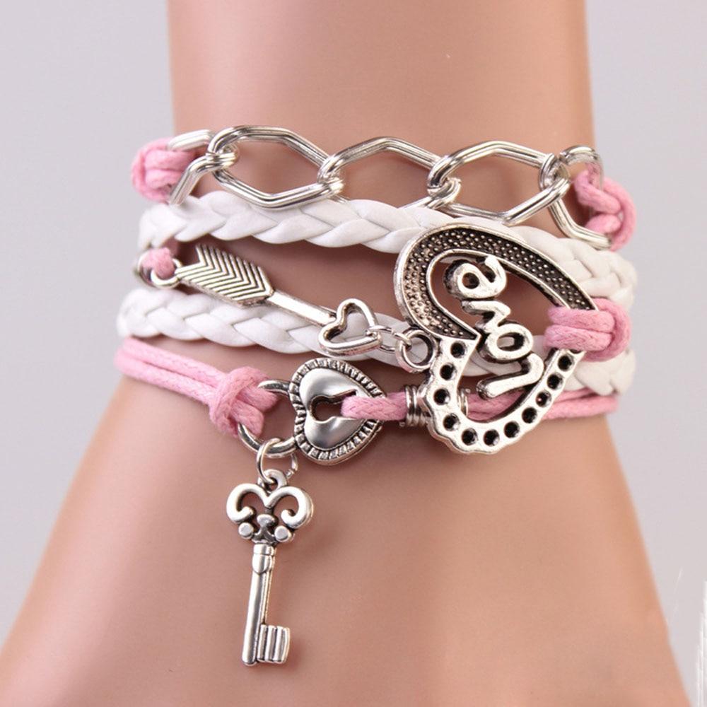 Tomtosh New Handmade Bracelet Lock Key Cupid's Arrow Charms Infinity Bracelet  White Pink Leather Bracelet Women