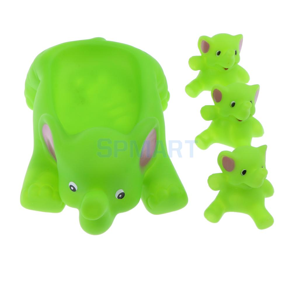 4pcs Floating Soft Rubber Farm Animal Elephant Bathtub Toy Squeezing Squeaky Bath Water Kid Toddler Baby Play Game