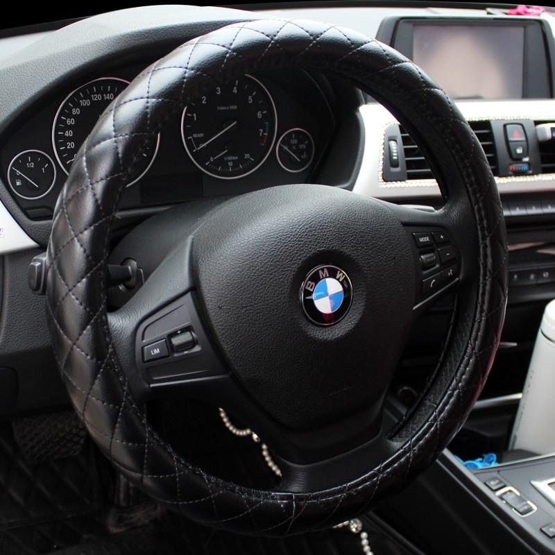 38cm Car Unisex Four Seasons PU Leather Steering Wheel