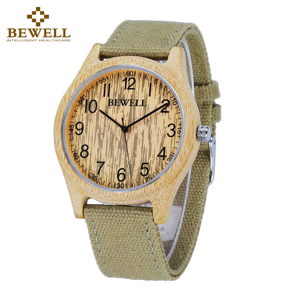 BEWELL New Arrival Top Luxury Brand Wood Watches Men Quartz Analog Clock Leather Canvas Strap Clock Man Relogios Masculino 124B