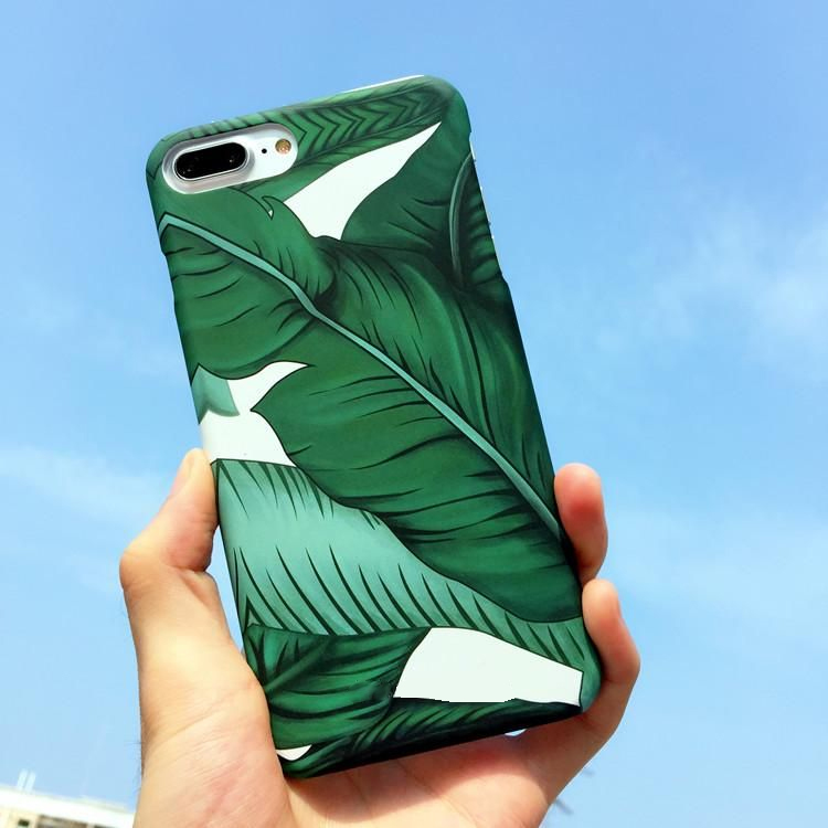 PC hard Phone Case Banana leaf Pattern Green Summer Fundas Para for iPhone 6s 6plus 6splus 6 7 7plus Vacation Style