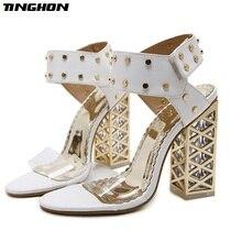 Купить с кэшбэком TINGHON New Sandals Summer Shoes Women 2018 Sexy PVC Crystal Open Toe High Heels Sandals Shoes Size 34-40