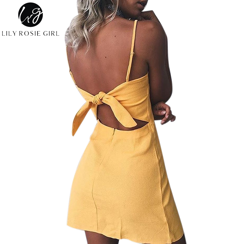 Lily Rosie Girl Sexy Club Strap Women Dress Summer Beach Back Bow Hollow Out Party -7748