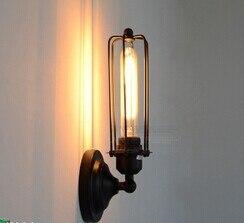 Художественное освещение Промышленное E27 Эдисона настенный светильник винтажный черный железная готовая клетка освещение фитинг для украшения дома - Цвет корпуса: Зеленый
