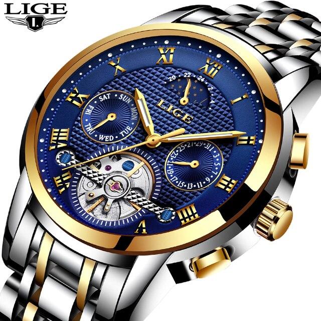 Men's Watch Top Brand LIGE Luxury Automatic Watch Men's Steel Full-Service Waterproof Sports Watch Relogio Masculino