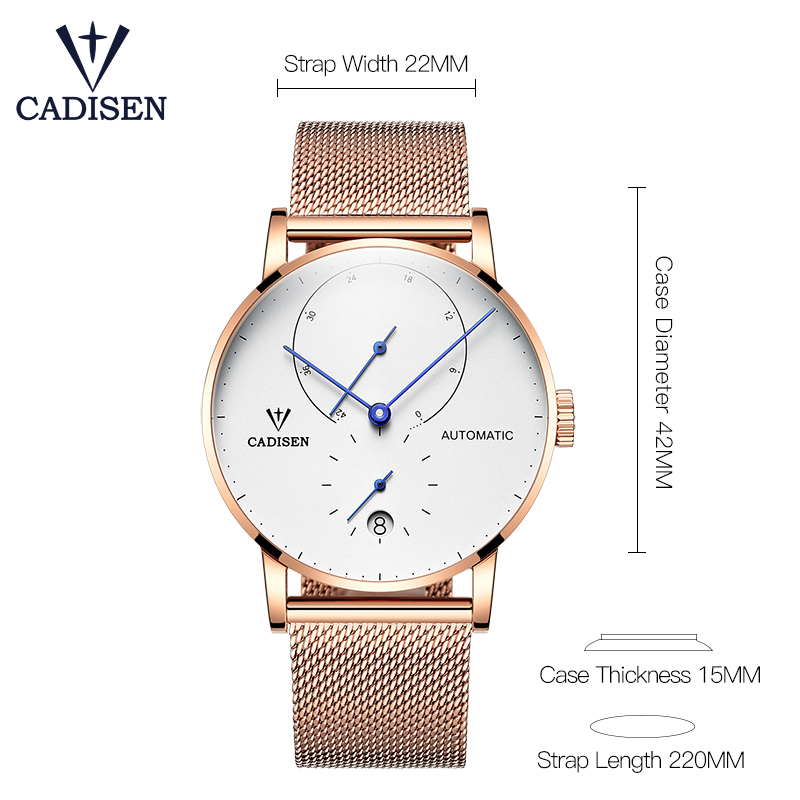 все цены на CADISEN Top Luxury business Men mechanical watches stainless steel automatic date waterproof men mechanical watches reloj hombre онлайн