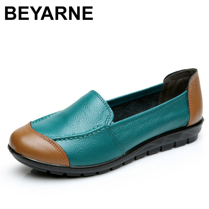 BEYARNE 2018 Shoes Woman Leather Women Shoes Flats Colors footwear Loafers Slip On Women's Flat Shoes Moccasins Plus Size beyarne spring summer women moccasins slip on women flats vintage shoes large size womens shoes flat pointed toe ladies shoes