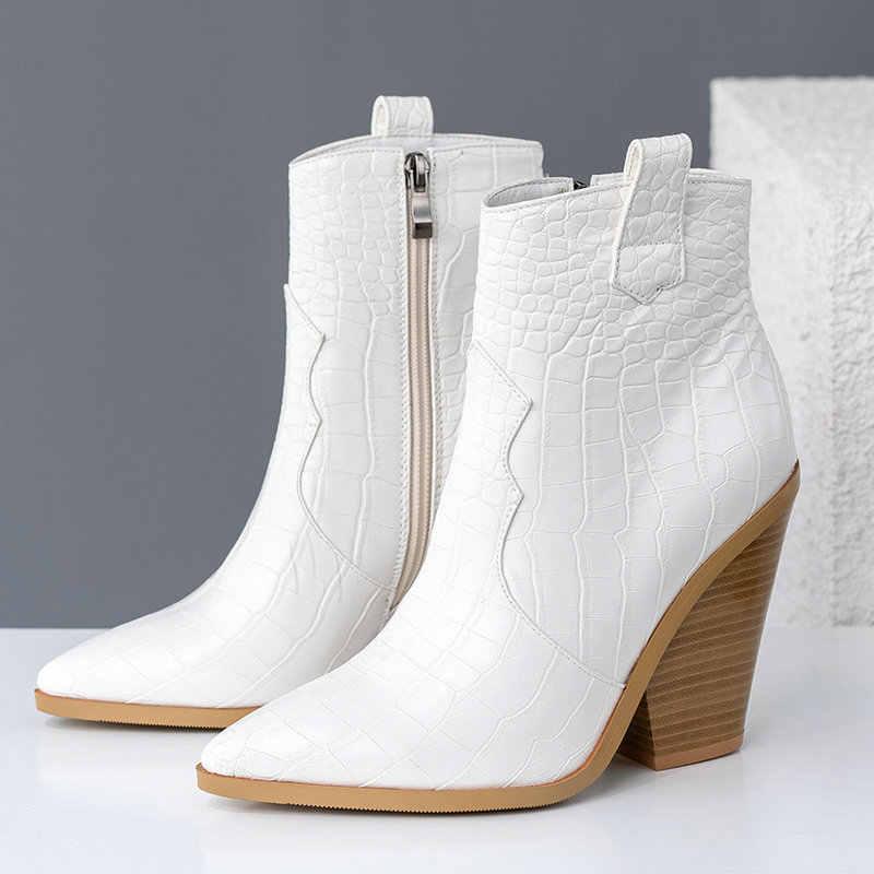 Brand Design Enkellaarsjes Vrouwen Pu Leer Wiggen Hoge Hakken Westerse Laarzen Wees Teen Rits Mode Herfst Winter Vrouwen schoenen
