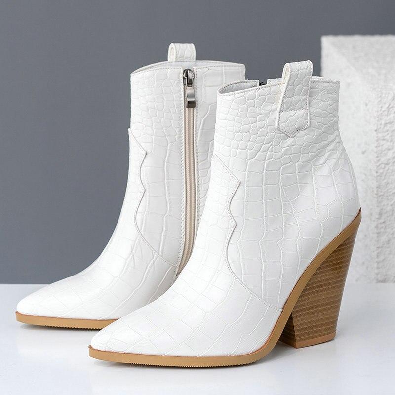 Marque design bottines femmes Pu cuir compensées talons hauts bottes occidentales bout pointu fermeture éclair mode automne hiver chaussures pour femmes