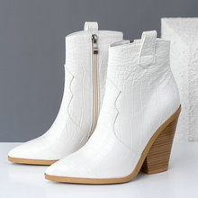 브랜드 디자인 발목 부츠 여성 Pu 가죽 웨지 하이힐 서양 부츠 지적 발가락 지퍼 패션 가을 겨울 여성 신발