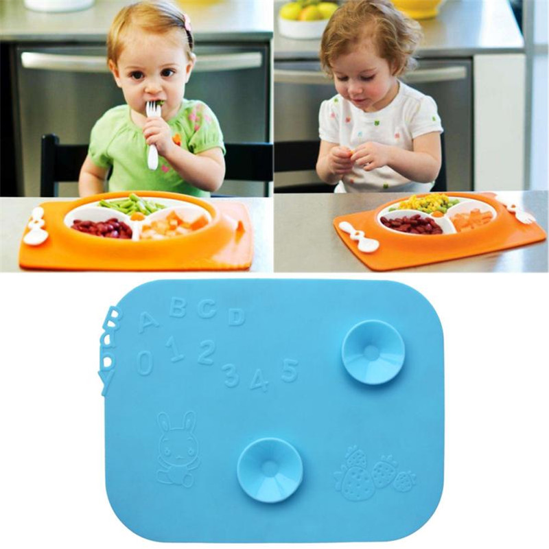 Baby Silicone Tableware Dining Pad Kitchen Placemat Insulation Kid Pad Table Coasters Anti slip with sucktion cup mat drop ship