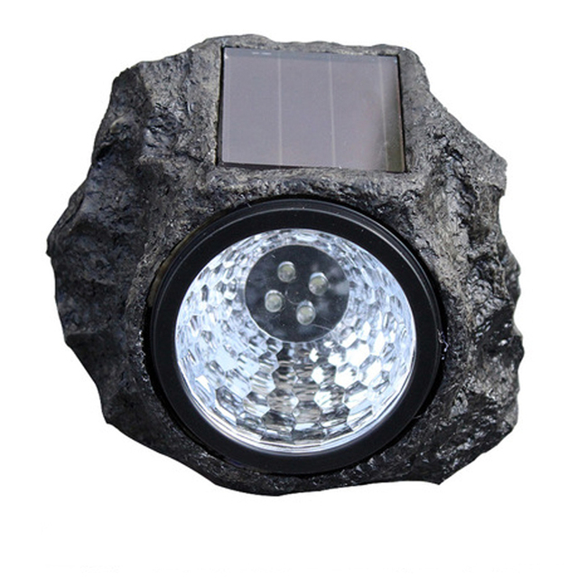Resin Imitation Stone 4 LED Solar Lamps Waterproof Garden Patio Lights For  Garden Decoration MIRSOU
