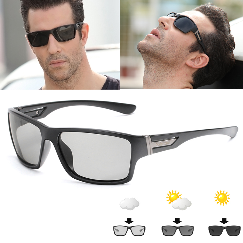 13c78a52060b9 Hot Sale Men HD Polarized Photochromic Sunglasses Women Chameleon  Discoloration Sun glasses Black Frame by LongKeeper 1821 23 24