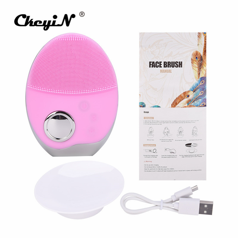 Image 5 - Mini Electric Ultrasonic Wireless charging Facial Cleansing Brush Silicone Rechargeable Face Waterproof Massager with Photon 40-in Powered Facial Cleansing Devices from Home Appliances