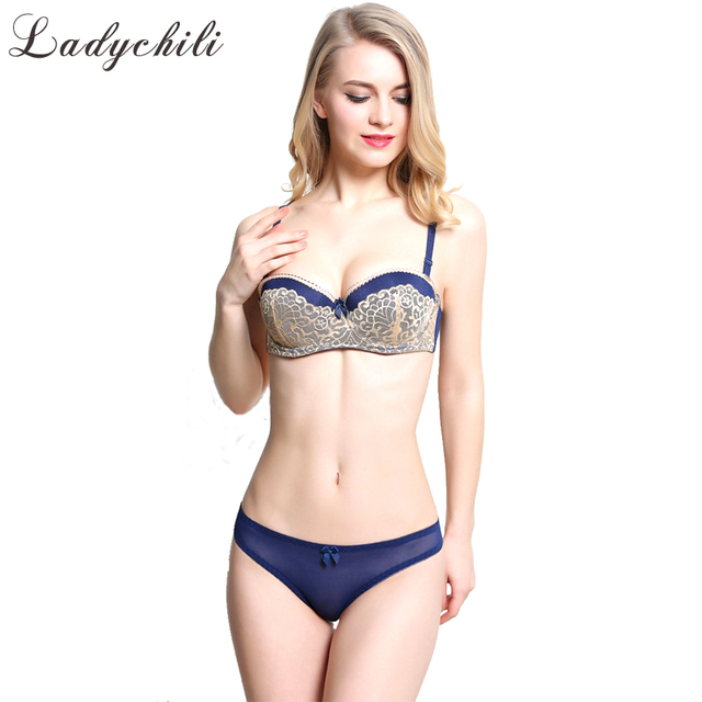 f5ef3558e European Size 1 2 Cup Hot And Sexy Lace French Bra Sets Lace Transparent  Underwear Kit Matching Bra and Thong Set Thin Cup N243
