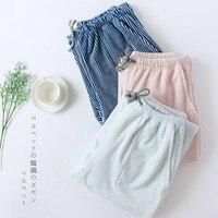 Winter Pajama Pants Women Bottoms Warm Home Pants for Women Ladies Island Velvet Sleep Pants Striped Thicken Lounge Wear