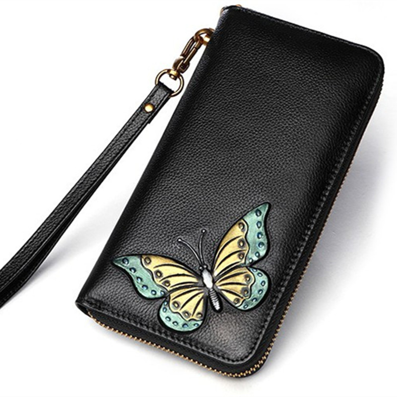 High-capacity 2018 Women Genuine Leather Butterfly Bag Cowhide Wallet Card Money Holder Clutch Purse Long Wallets Coin Pocket genuine leather women bag designer crocodile handbags luxury quality lady shoulder crossbody bags embossed women messenger bag