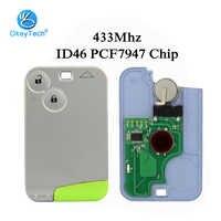 OkeyTech avec lame vierge d'urgence non coupée 433mhz ID46 PCF7947 puce télécommande carte à puce clé de voiture pour Renault Laguna 2 bouton