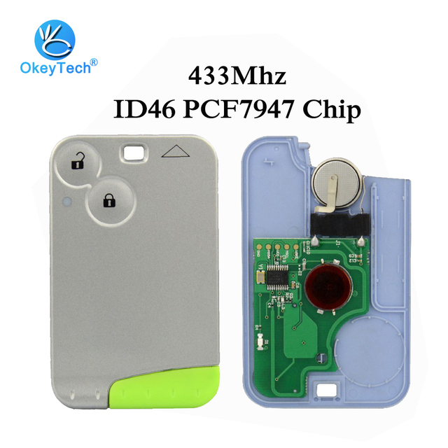 OkeyTech with Emergency Uncut Blank Blade 433mhz ID46 PCF7947 Chip Remote Control Smart Card Car Key for Renault Laguna 2 Button
