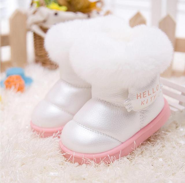 2016 new fashion Kids Children's shoes shiny fur warm winter boots snow boost Baby shoes Girls cotton padded Toddler Firstwalker
