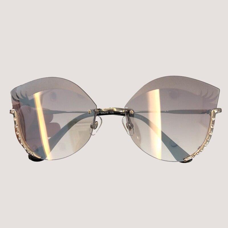 Cat Eye lunettes de Soleil Femmes Marque Designer Haute Qualité Oculos De Sol Feminino Vintage Mode Lunettes Sans Monture Sexy Femme de Lunettes De Soleil