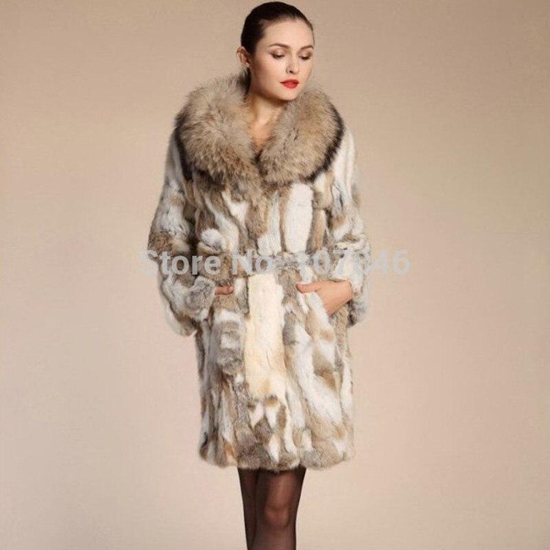 Lady Fashion Genuine Natural Rabbit Fur Coat Jacket Raccoon Fur Collar Winter Women Fur Trench Outerwear