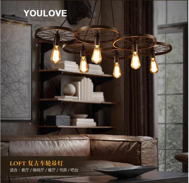 American country wheel pendant lights fixture european industrial vintage droplight home indoor foyer dining room bedroom