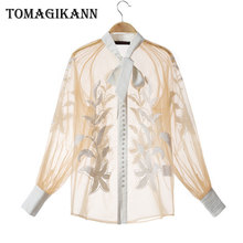 Women Sexy Blouses Transparent Lace Floral Embroidery Sheer Shirts and Blouse Tops 2019 Korean Bow Lantern Sleeve blusa feminina raw hem floral sheer lace blouse