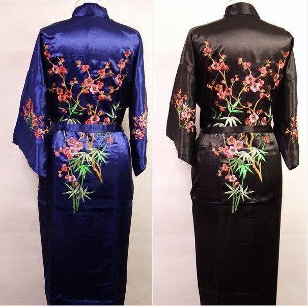 Hot Sale New Chinese Men's Silk Satin Embroidery Robe Kimono Bath Gown Flowers Size S M L XL XXL XXXL Free Shipping Zhs001A