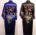 Venda quente novo chinês de cetim de seda bordado Robe Kimono Bath vestido flores sml XL XXL XXXL frete grátis Zhs001A