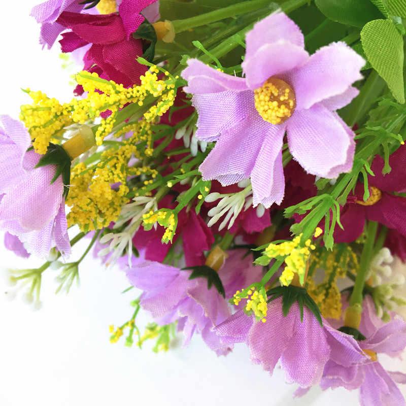الحرير الصغيرة بوكيه ورد صناعي ديزي كاميليا الزهور حفلة ديكور المنزل الزفاف اكسسوارات الديكور ورد صناعي صغير هدية 52032