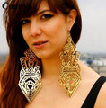 Boho Exaggerated long pendants punk style earrings Newest pendientes fashion jewelry pierced brincos de festa golden geometric
