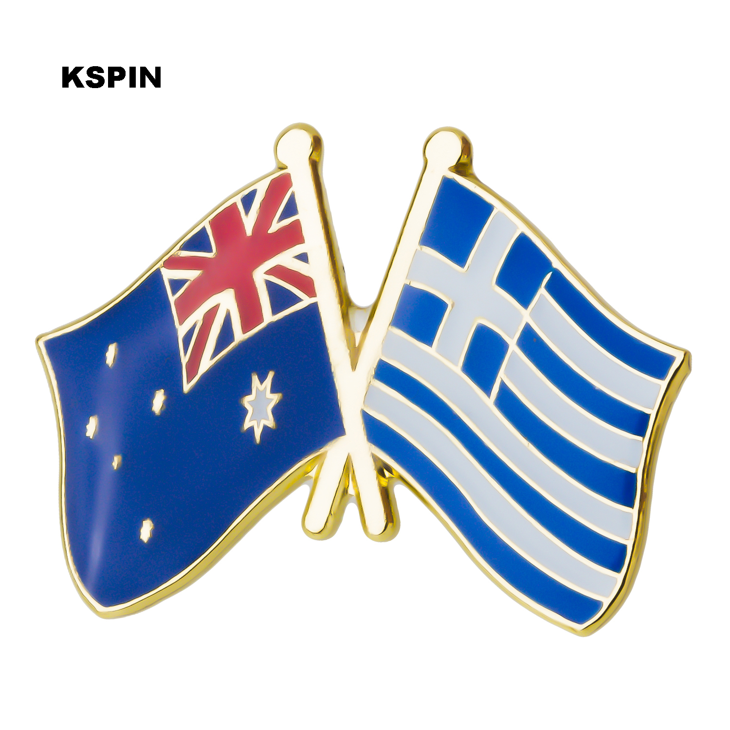Australia Greece Friendship Flag Label Pin Metal Badge Badges Icon Bag Decoration Buttons Brooch For Clothes 1pc Distinctive For Its Traditional Properties Apparel Sewing & Fabric