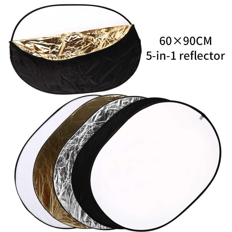 60x90cm 5 en 1 réflecteur de lumière ovale pliable Portable accessoires Flash pour Studio de photographie Multi diffuseurs de disques Photo