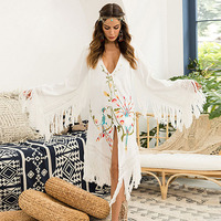 Beach Bikini Cover Up Dress Boho Tassel Embroidered Long Dress Summer Swimwear For Women Long Sleeve Bathing Suit Sexy Swimsuit