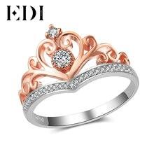 EDI klasik taç gerçek doğal elmas alyans kadınlar için 14k 585 gül beyaz altın nişan bantları güzel takı