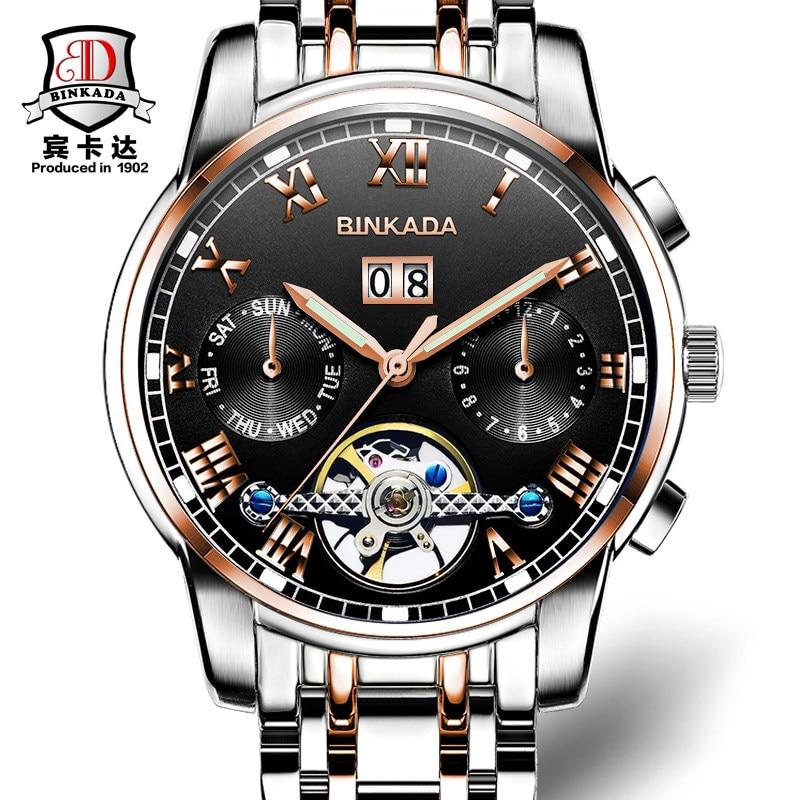 ФОТО 2016 BINKADA luxury brand quartz watch Casual Fashion Leather watches relojs masculino men watch Business Sports Wristwatch