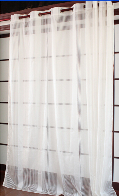 Newest Modern Solid Color Stripe Curtain Window Screening,Balcony Quality  Tulle,Sheer Curtain For