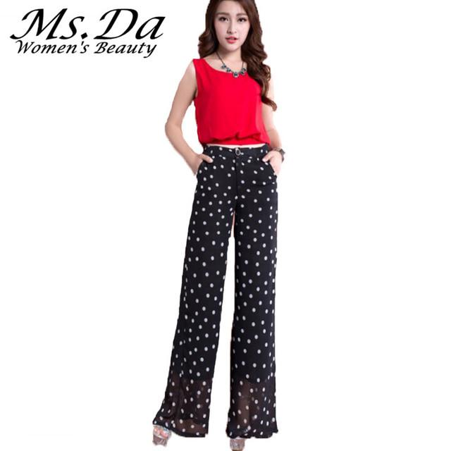 2017 Novas Calças Largas Nas Pernas Das Mulheres Calças Plus Size Cintura Alta Casual Lady Chiffon Sexy Workwear Calças Compridas Preto, vermelho, Branco, Azul