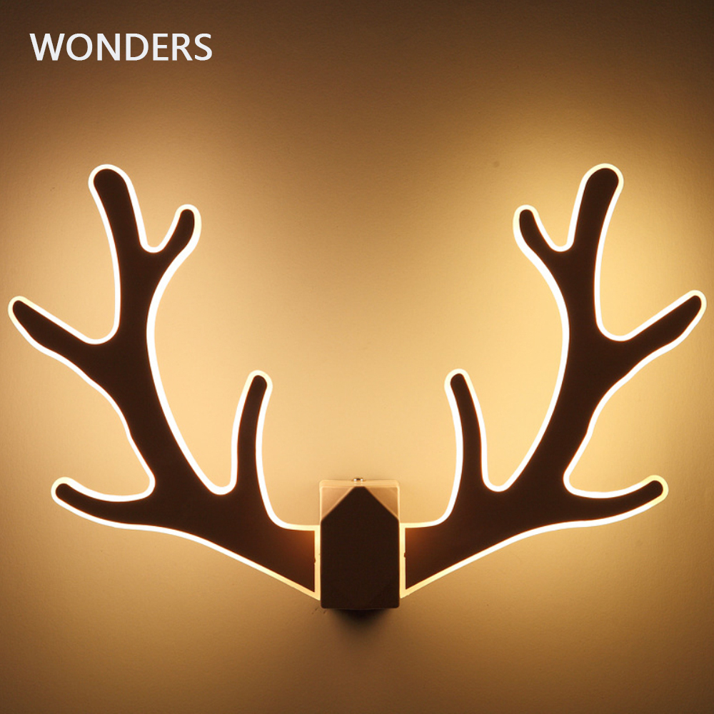 Modern minimalist antler wall lamp bedroom bedside aisle staircase acry light Nordic creative room deer head wall lamp 110V 220V juliyang nordic creative deer head wall lamp bedroom bedside lamp modern living room corridor aisle antler wall light
