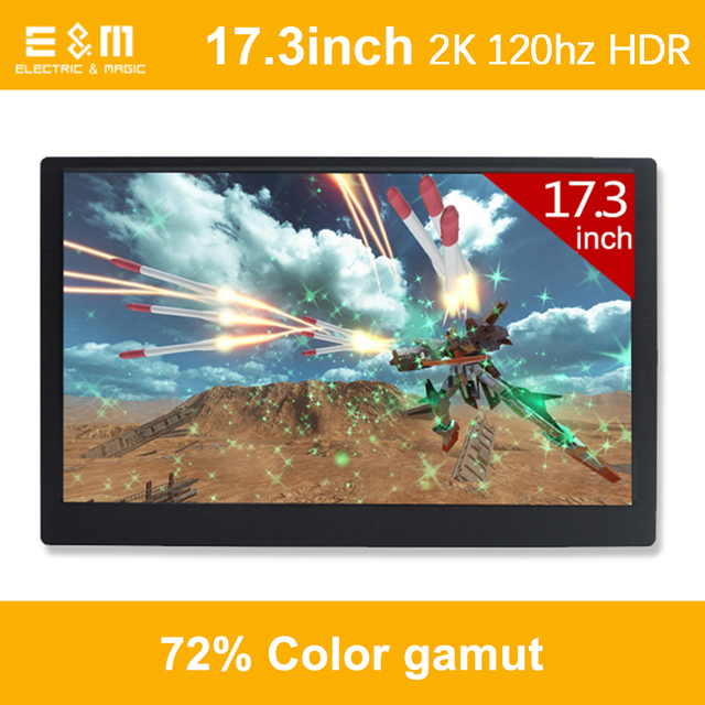 17.3 Inch 2K 120hz 2560*1440 NTSC 72% HDR IPS Type C Speaker Game Portable Screen Refresh  Ps4 Xbox NS Display Monitor PC Laptop