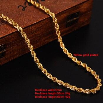 72fbcc65e403 Collar de cadena trenzado con relleno de oro de 24 K para hombre mujer  Cadena de cuerda de oro África Joyería Árabe Etiopia largo novio regalo